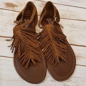 3348d352f31a Brash Shoes - ⬇  25 BRASH Fringe Boho Brown Flat Sandals 7.5